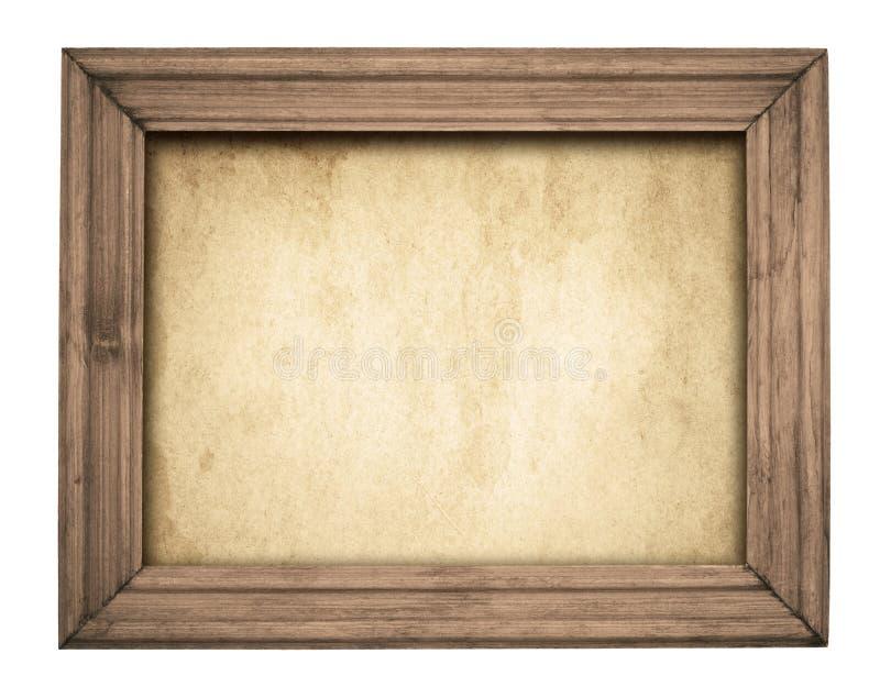 在老纸的葡萄酒木制框架 免版税库存照片