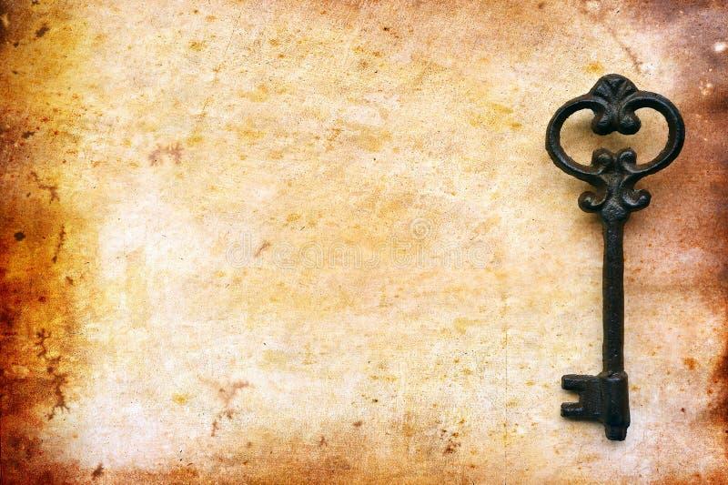在老纸的葡萄酒钥匙 免版税库存照片