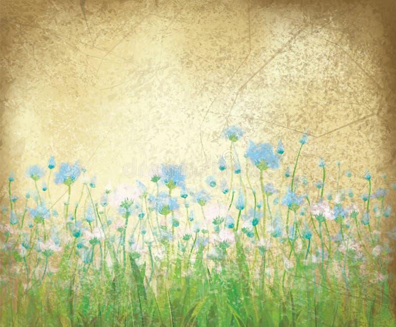 在老纸背景的传染媒介花卉样式。 向量例证