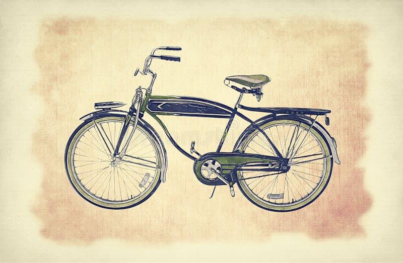 在老纸难看的东西背景的葡萄酒自行车与精美抽象帆布纹理 库存例证