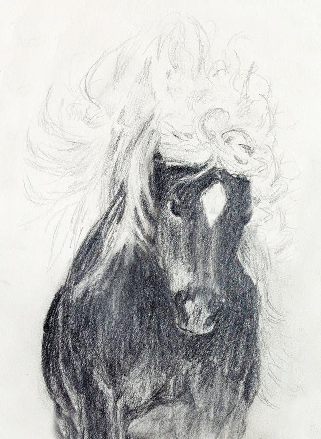 画在老纸,原始的手凹道的铅笔马 向量例证