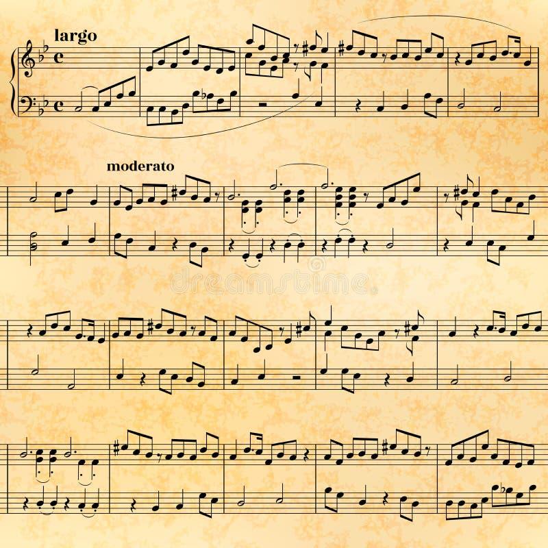 在老纸,无缝的样式的音乐纸张 向量例证