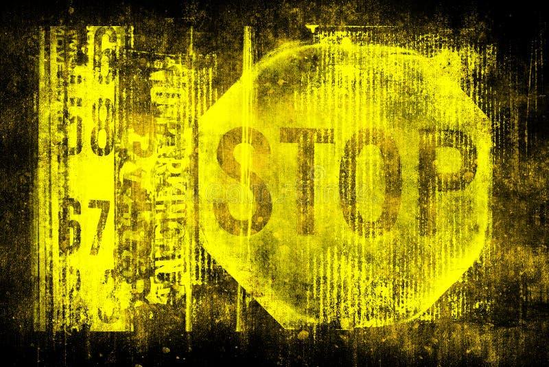 在老脏的墙壁上的停车牌 标志停止运动 单色黄色黑例证 皇族释放例证