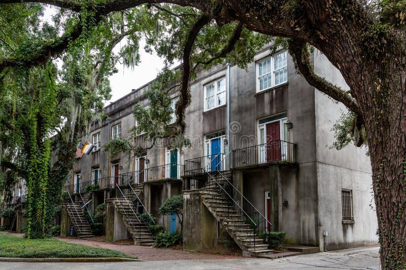在老膏药公寓的五颜六色的门 库存照片