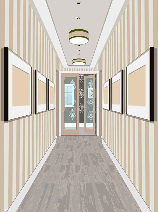 在老葡萄酒公寓的现代经典霍尔走廊走廊 走廊例证 向量例证