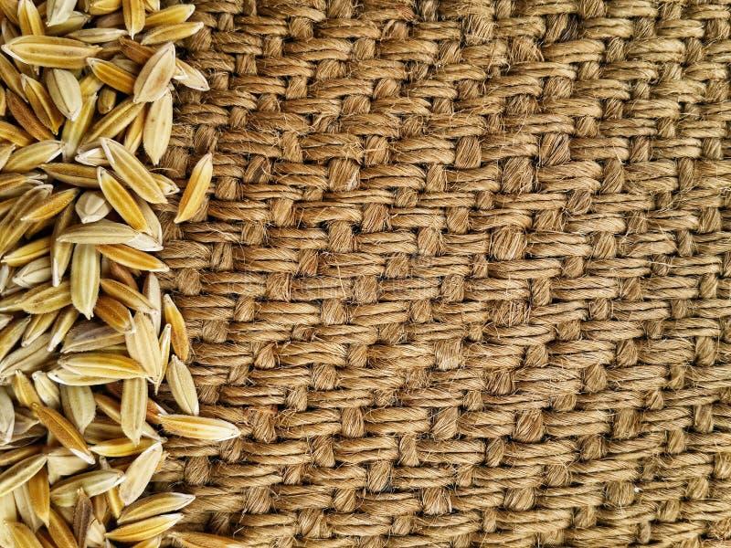 在老被弄皱的粗麻布背景的黄色稻茉莉花米 免版税库存照片