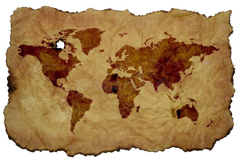 在老被染黄的羊皮纸的世界地图 向量例证
