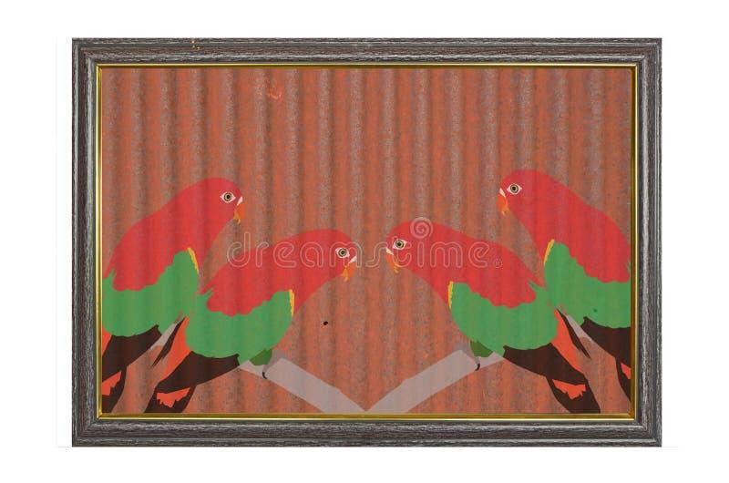 在老锌纹理的两只美丽的夫妇鹦鹉 免版税图库摄影