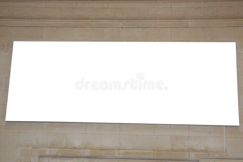 在老镇墙壁的室外空白的报亭城市广告 免版税库存照片