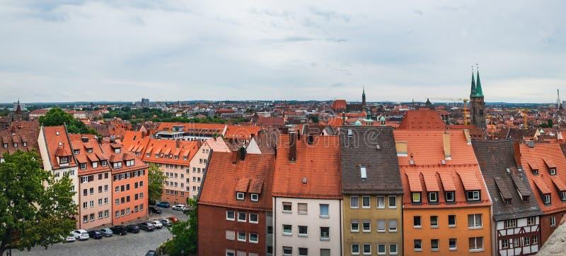 在老镇的都市风景视图,Nurnberg,德国 库存图片