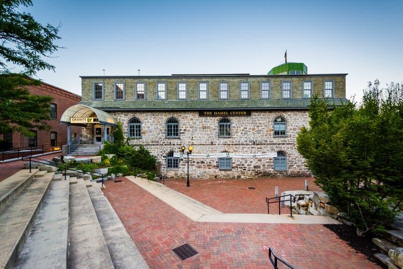 在老鹰正方形的历史建筑,在一致,新罕布什尔 库存照片