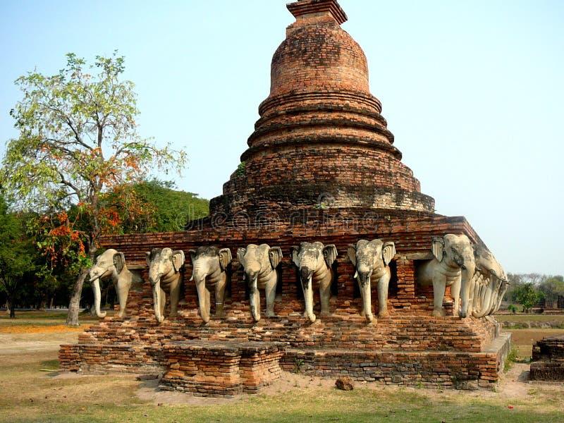 在老Sukhothai泰国的Wat Sorasak 库存照片