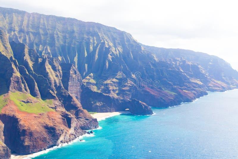 在考艾岛的鸟瞰图 免版税库存照片