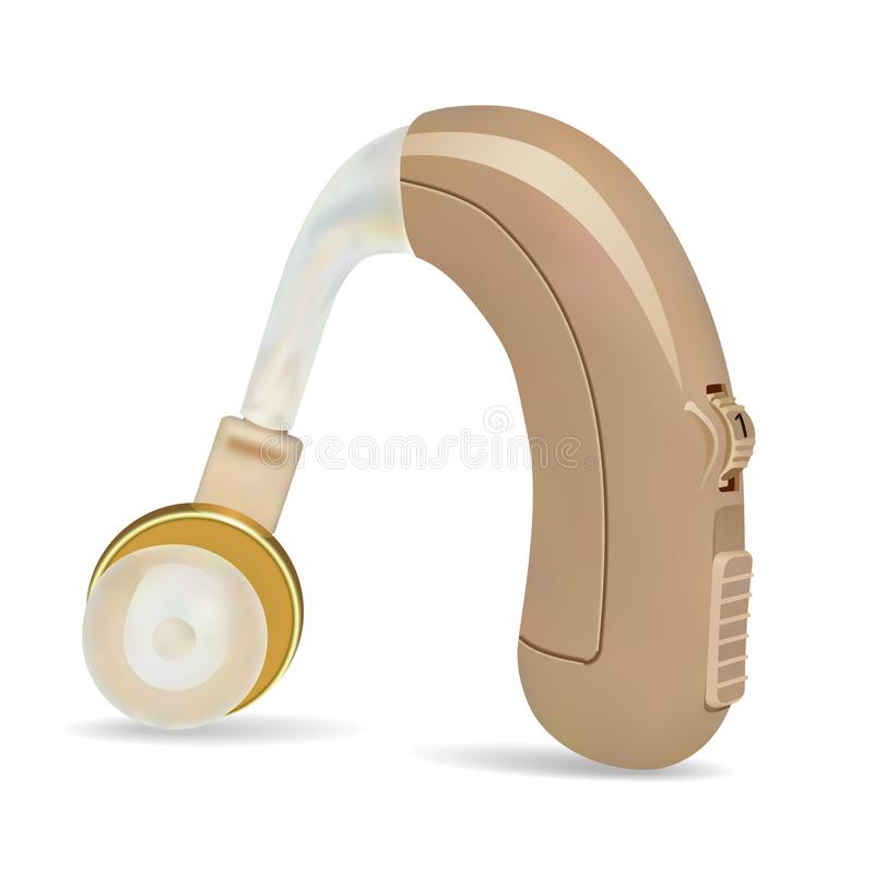 在耳朵后的助听器 病人的声放大器有听力丧失 治疗和弭补科在耳鼻喉科学方面 向量例证