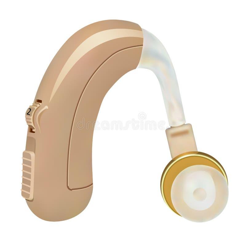 在耳朵后的助听器 病人的声放大器有听力丧失 治疗和弭补科在耳鼻喉科学方面 皇族释放例证