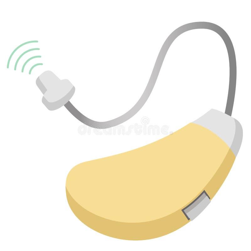 在耳朵声放大器听的设备后的助听器 向量例证