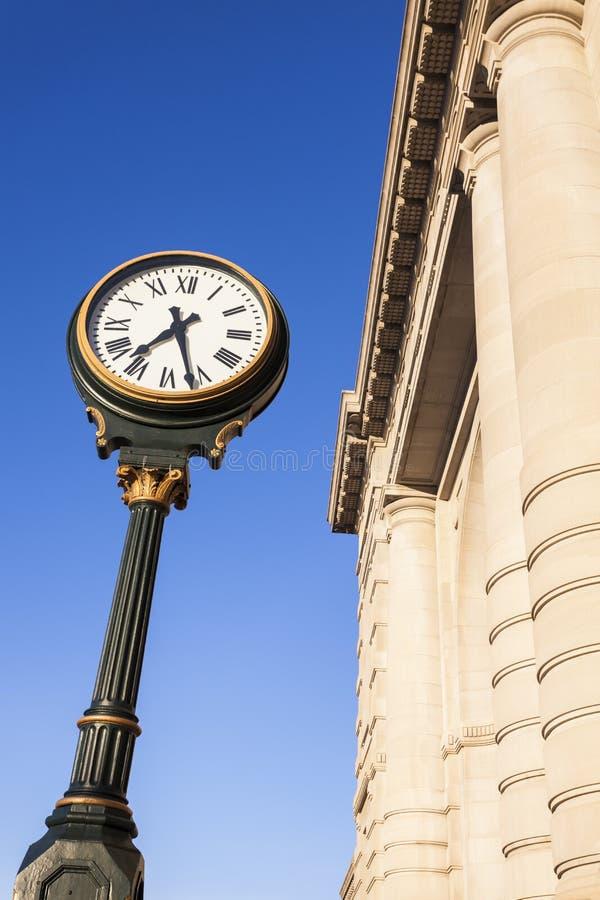 在联合驻地的时钟在坎萨斯城 库存照片