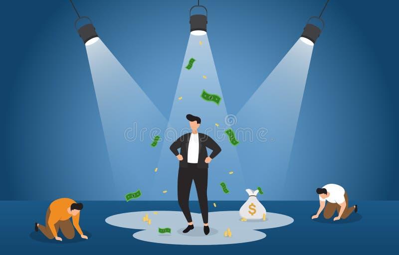 在聚光灯下的成功的富有的商人与失败者企业概念例证 皇族释放例证