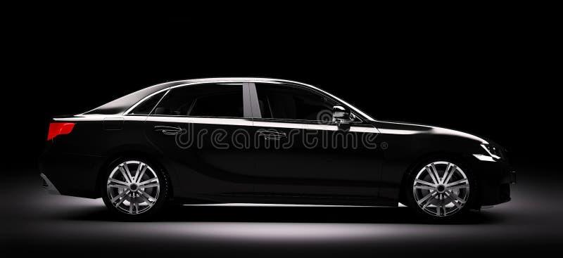 在聚光灯的新的黑金属轿车汽车 现代desing, brandl 向量例证