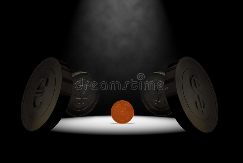 在聚光灯的Bitcoin 免版税库存图片