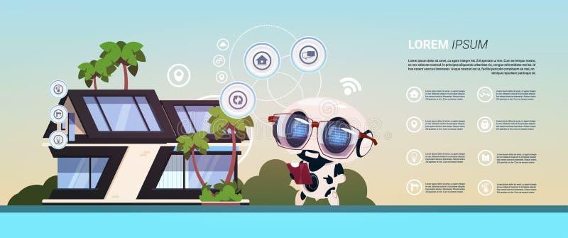 在聪明的家庭控制概念管理技术背景现代录象系统的机器人  向量例证