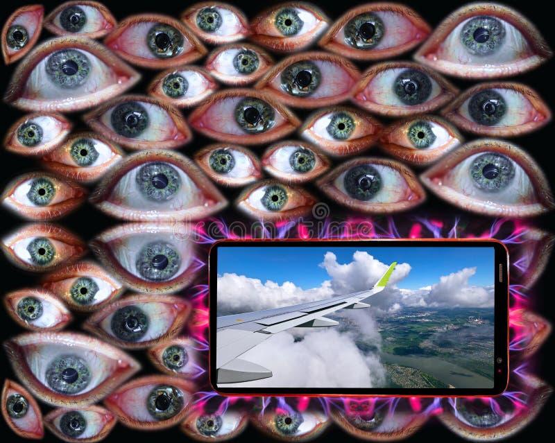 在肉眼背景的智能手机屏幕上和云彩显示的飞机空运  免版税库存照片