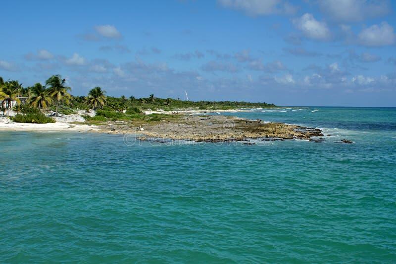 在肋前缘玛雅人,墨西哥的海滩 免版税库存图片