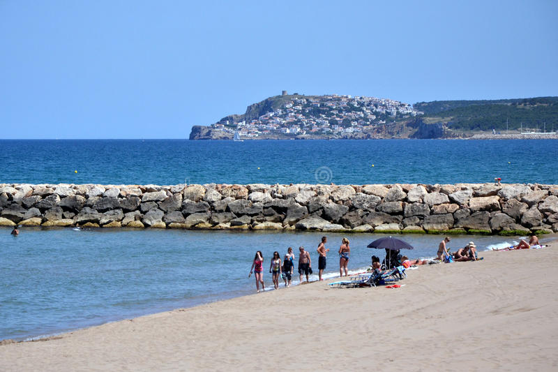 在肋前缘Brava,卡塔龙尼亚,西班牙的L'Escala 库存图片