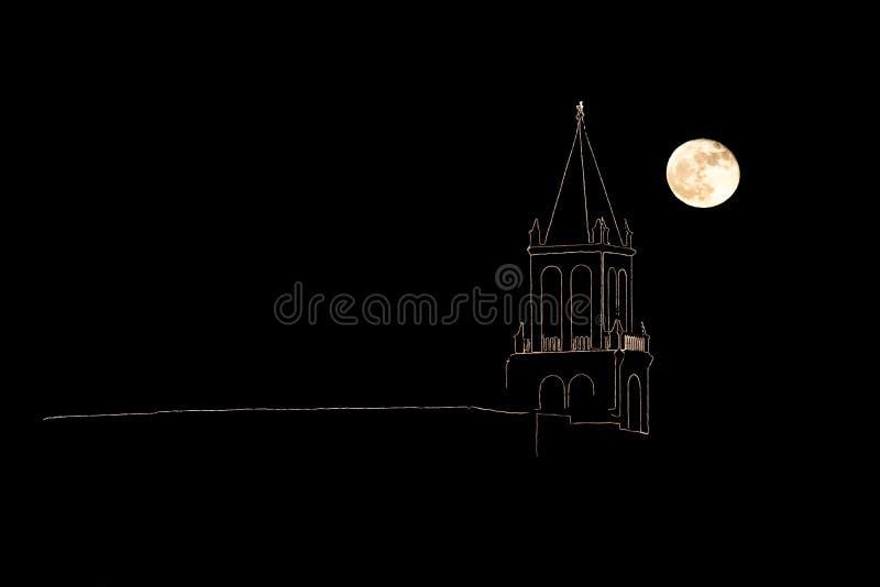 在肋前缘Brava,镇Palamos西班牙的夜 向量例证
