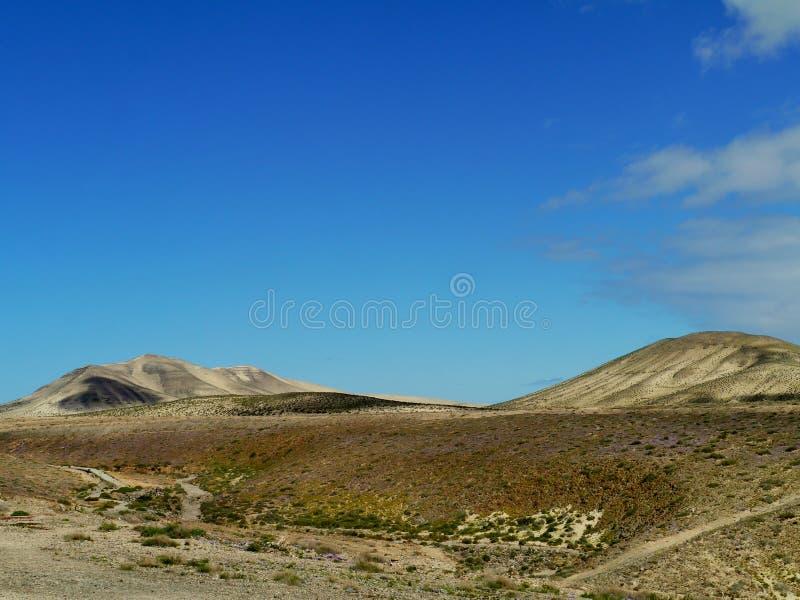 在肋前缘Calma附近的火山的沙漠 库存照片