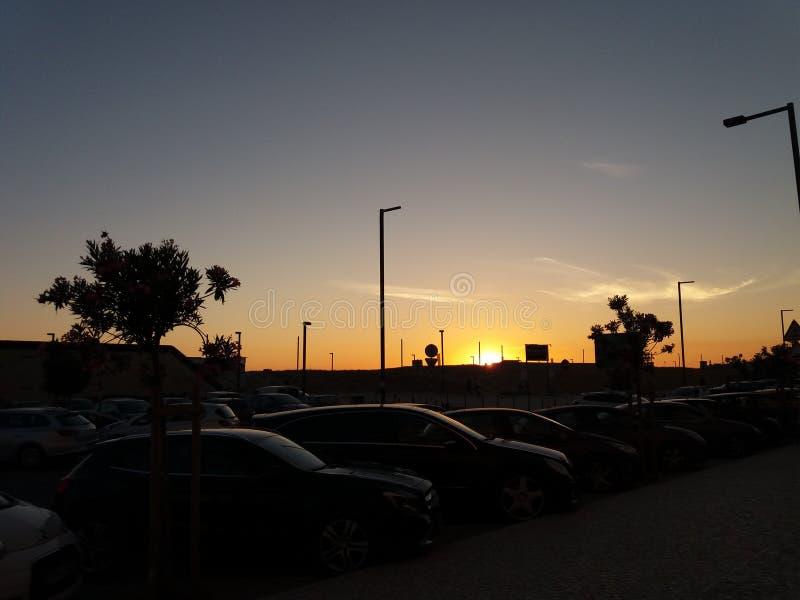 在肋前缘de caparica的日落 库存照片