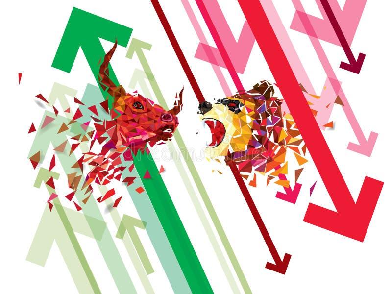 在股市上的看涨和下跌标志导航例证 导航外汇或商品图,在抽象背景 sym 皇族释放例证