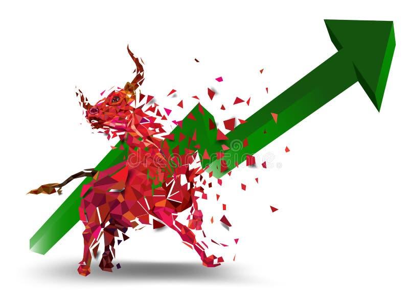 在股票市场传染媒介例证的看涨标志 传染媒介外汇或商品图,在抽象背景 t的标志 向量例证