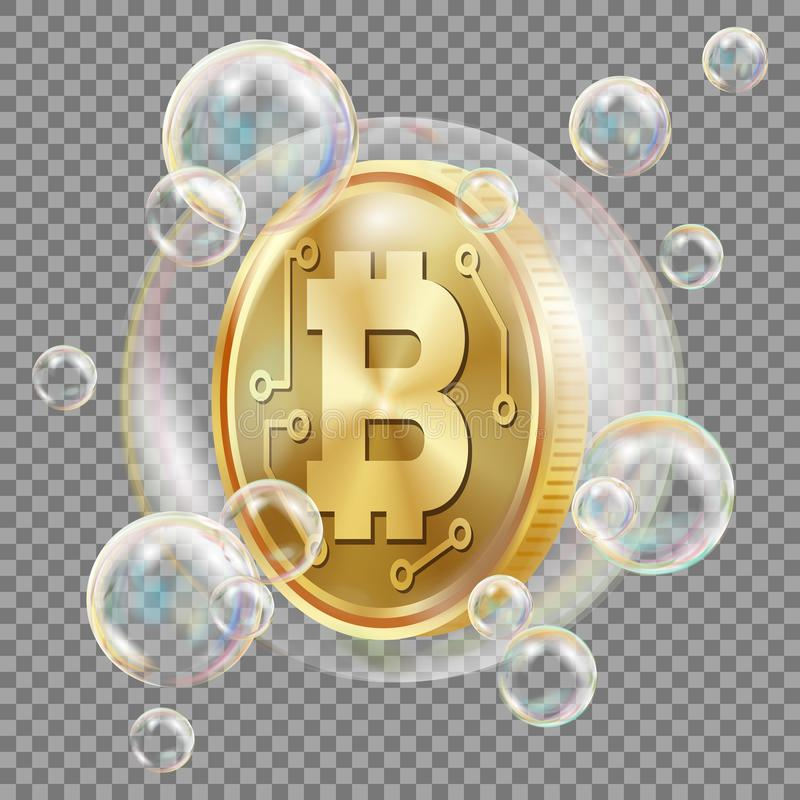 在肥皂泡传染媒介的Bitcoin 投资风险 Bitcoin崩溃数字式金钱 隐藏货币市场 被隔绝的现实 皇族释放例证