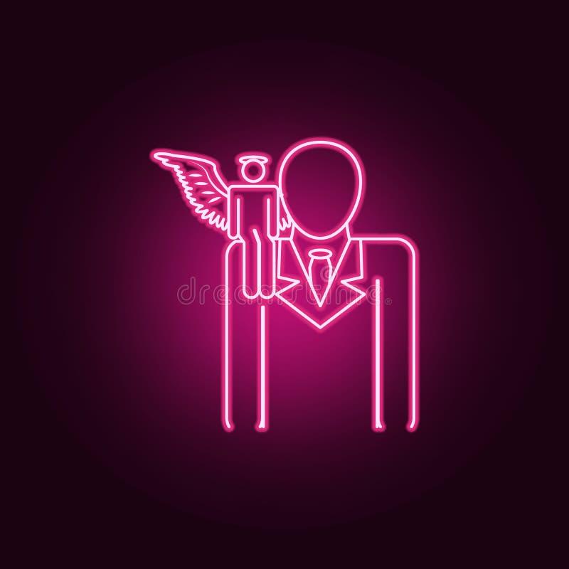 在肩膀霓虹象的天使 天使和邪魔集合的元素 r 皇族释放例证