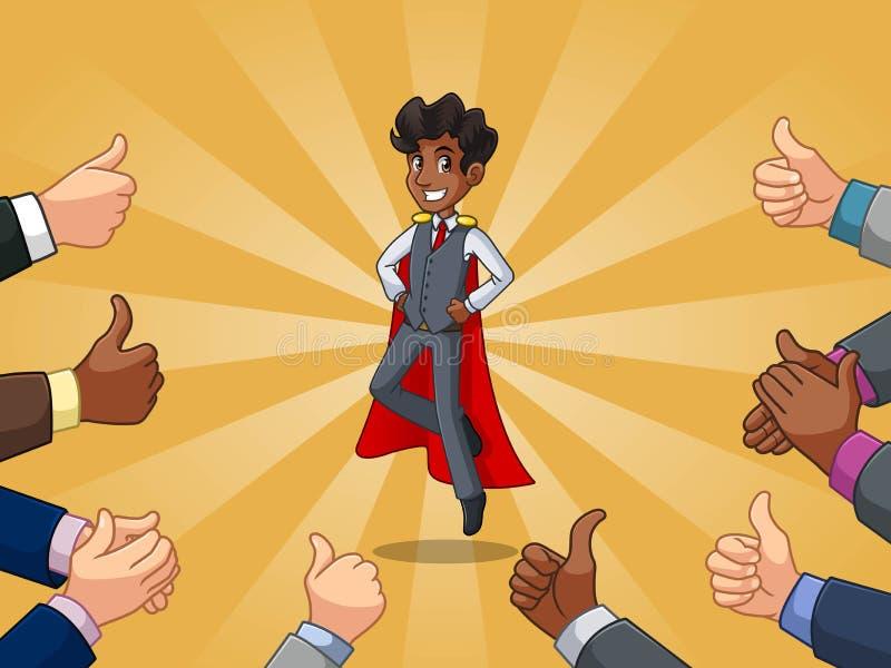 在背心的超级英雄商人有许多赞许和拍的手的 向量例证