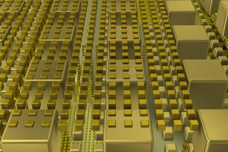 在背景场面的技术立方体 库存图片