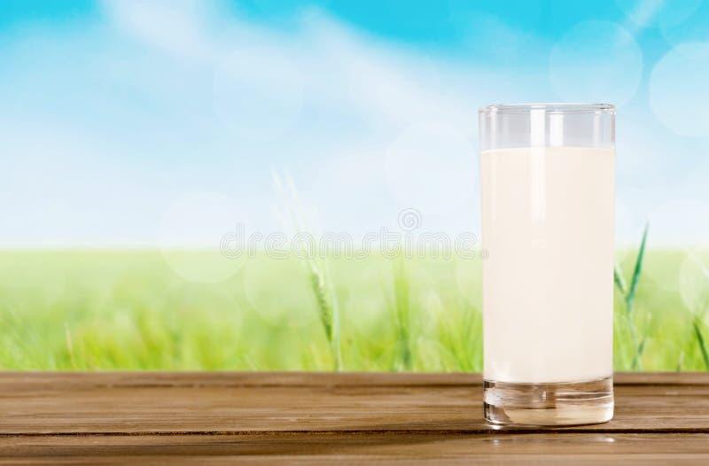 在背景新鲜的牛奶隔绝的杯 免版税图库摄影