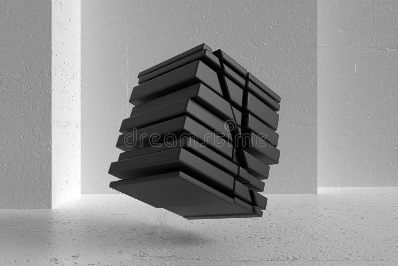 在背景白色墙壁上的黑抽象几何形状 E 3d?? 向量例证
