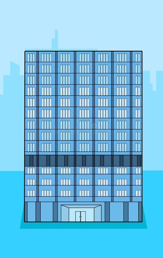 在背景的一个蓝色企业大厦与城市形状 皇族释放例证