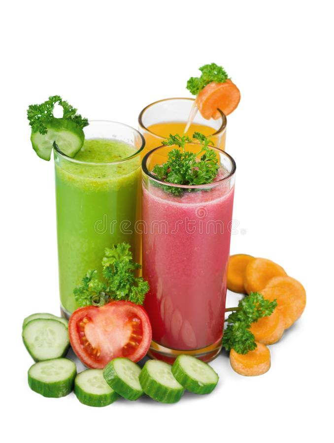 在背景的健康蔬菜汁 库存照片