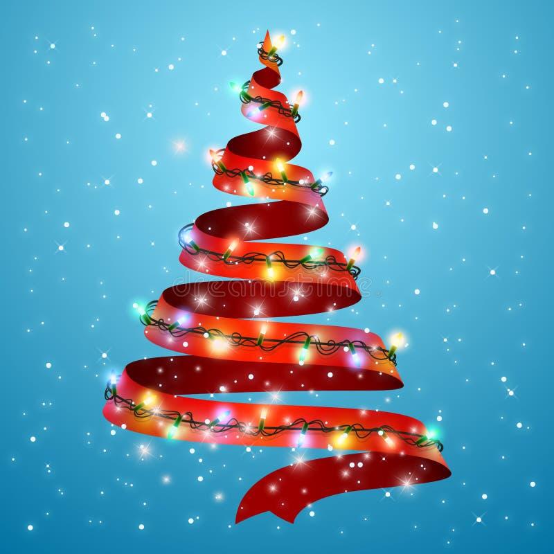 在背景的圣诞树丝带 Xmas假日贺卡的发光的光设计 新年和圣诞节 库存例证