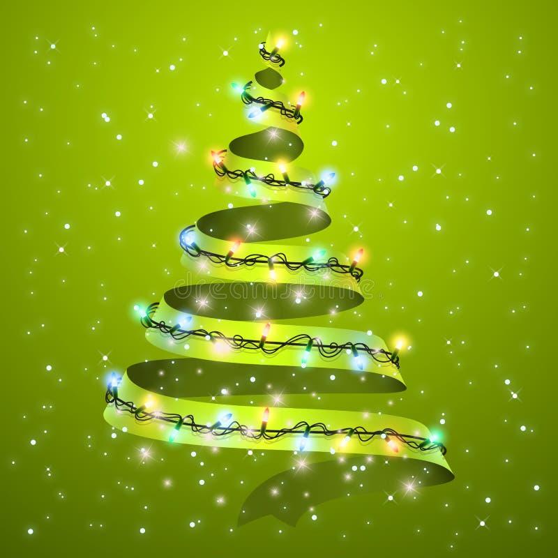 在背景的圣诞树丝带 Xmas假日贺卡的发光的光设计 新年和圣诞节 皇族释放例证