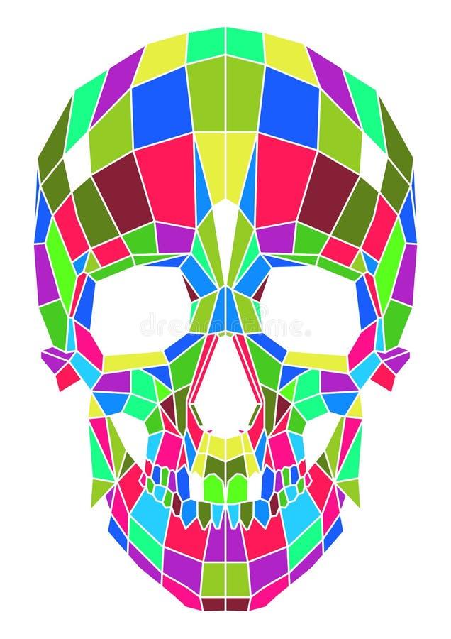 在背景的抽象多角形多色头骨 库存例证