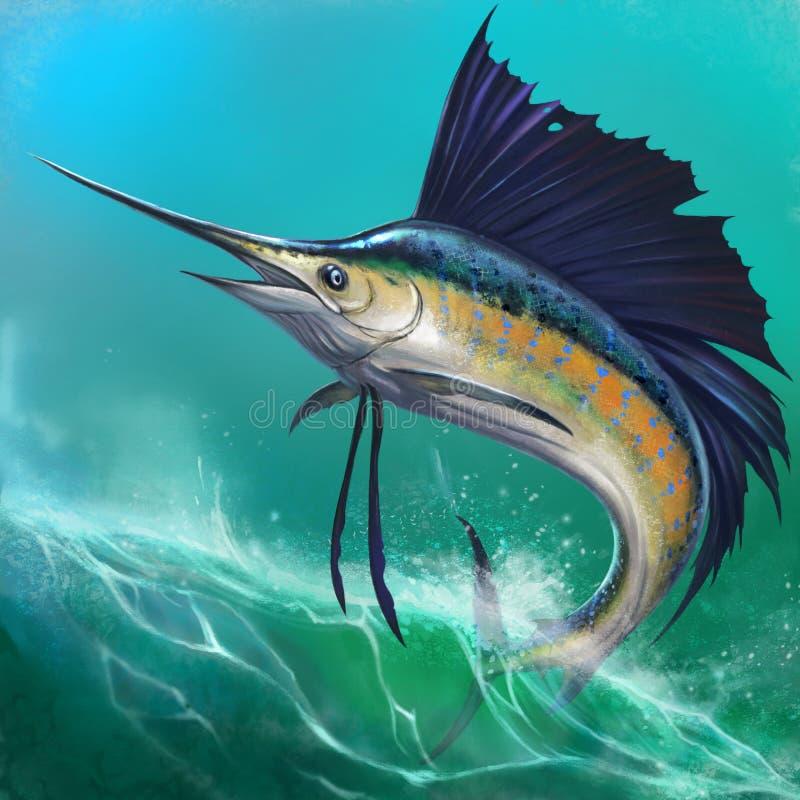 在背景的旗鱼 向量例证
