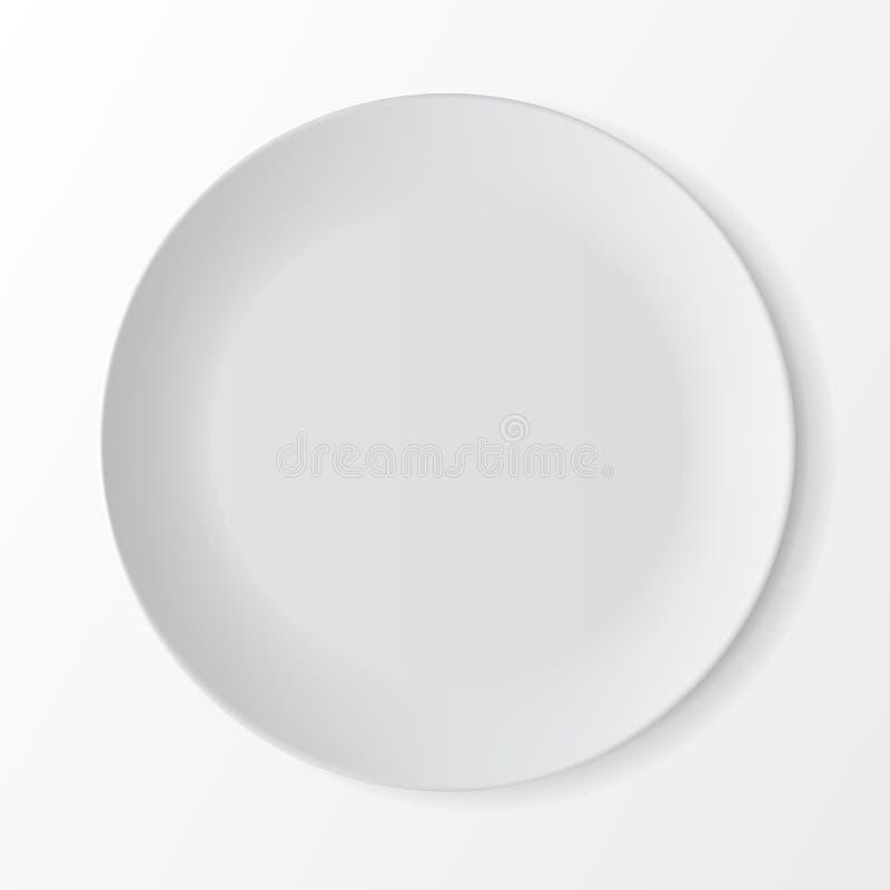 在背景的白色空的圆的板材 制表设置 库存例证