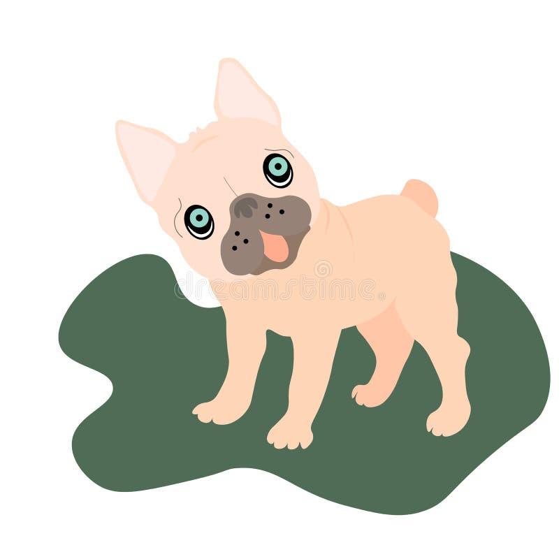 在背景的网可爱的米黄哈巴狗小狗 幽默集合,手拉的样式印刷品 ?? 向量例证