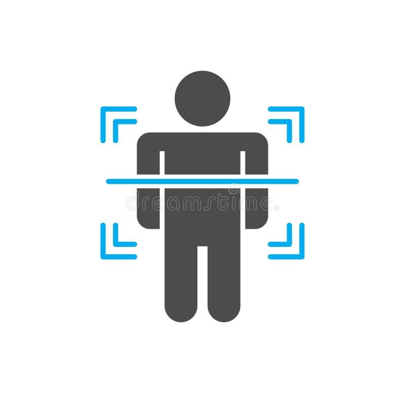 在背景的身体扫描相关象图表和网络设计的 E E 向量例证