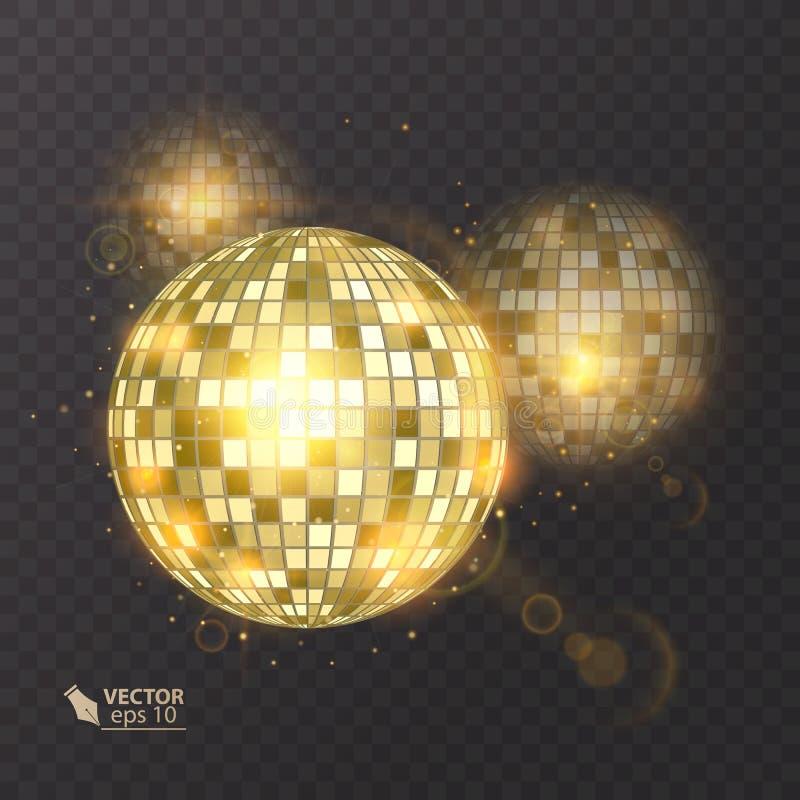 在背景的迪斯科球 夜总会党光元素 迪斯科舞蹈俱乐部的明亮的镜子球设计 向量例证