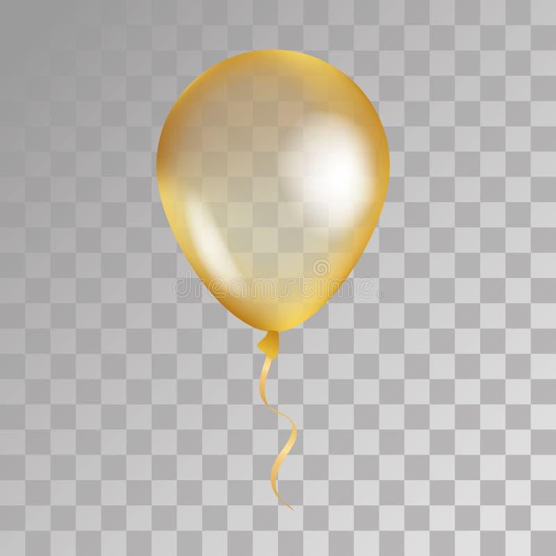 在背景的金透明气球 向量例证